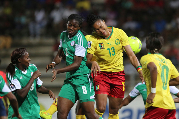 Falcons striker, Assisat Oshoala contending with a Cameroonian player at the last edition of the championship.